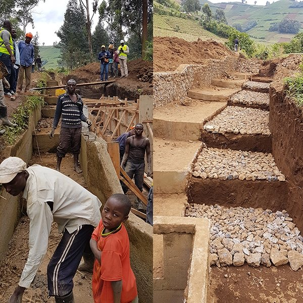 Water4Virunga - photo of construction works to evacuate water in a proper way in Congo.