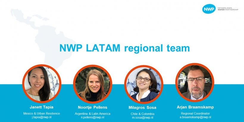 Banner with portrait photos of the NWP LATAM regional team.