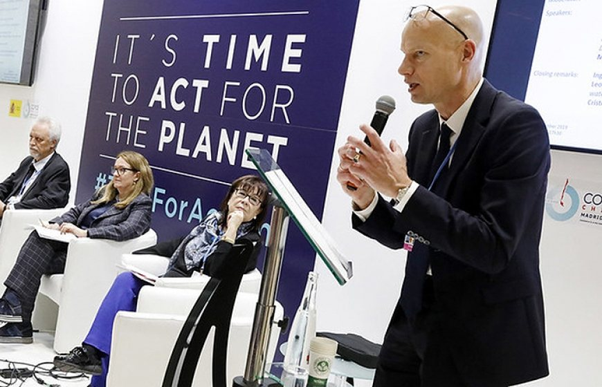 Blog of Henk Ovink. Photo of Henk Ovink, Dutch Special Envoy for International Water Affairs, at COP25 in Madrid