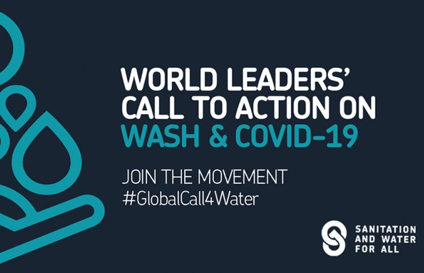 Banner of the GlobalCall4Water. An initiative of Sanitation and Water for All.