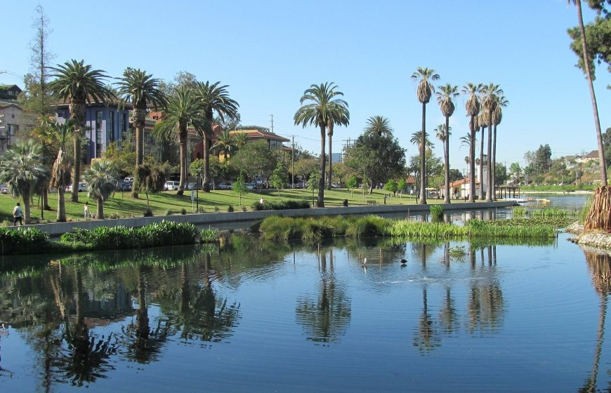 Photo of Echo Park in Los Angeles, which also functions as a water basin.